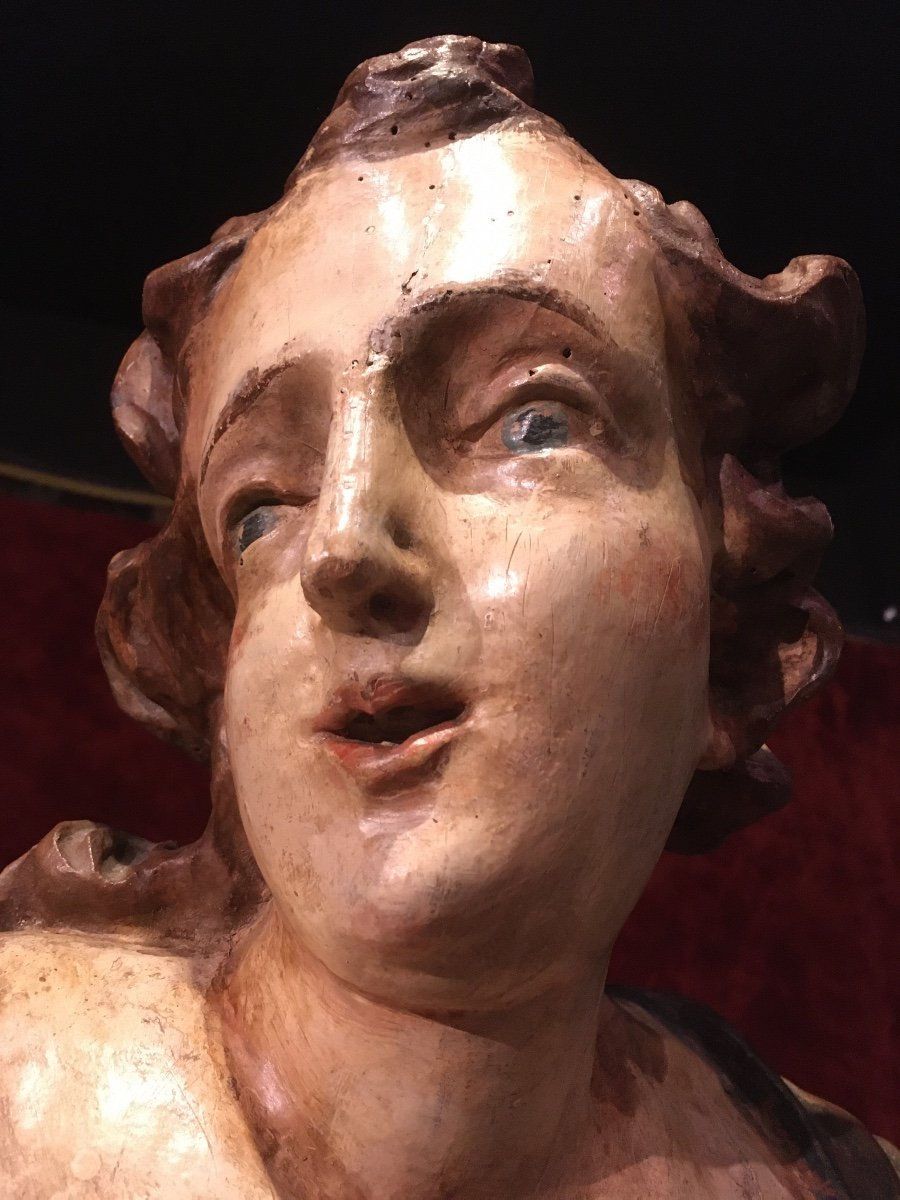 Large Baroque Angel In Polychrome Wood 17th Century-photo-8