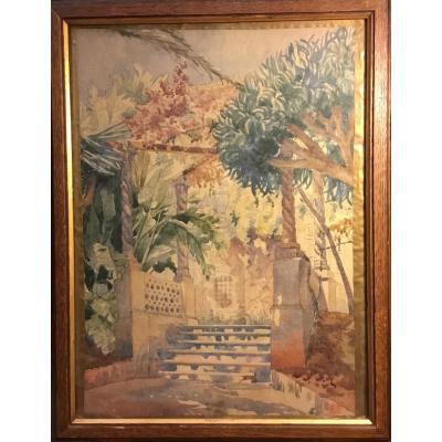 Watercolor Arab Garden, Sunny Courtyard Circa 1900. Monogrammed Fb