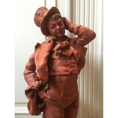 Sculpture En Terre Cuite « Un Accident Malheureux » Fin 19ème.
