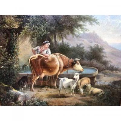 """Petit tableau """"femme aux animaux"""" 19ème."""