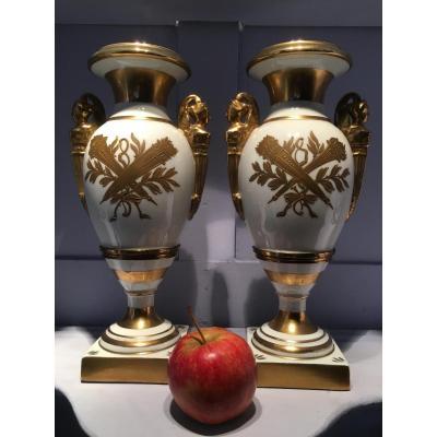 Paire De Vases En Porcelaine Style Empire Début 20ème.