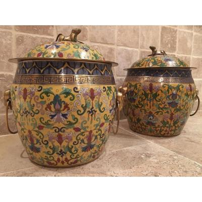 Pair Of Cover Pots 20thc. Cloisonné Enamel