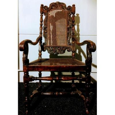Walnut Armchair Around 1700 (william & Mary)