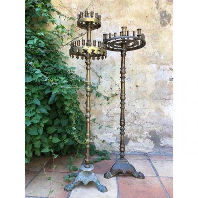 2 Large Orthodox Candelabras In Bronze Early 19thc.