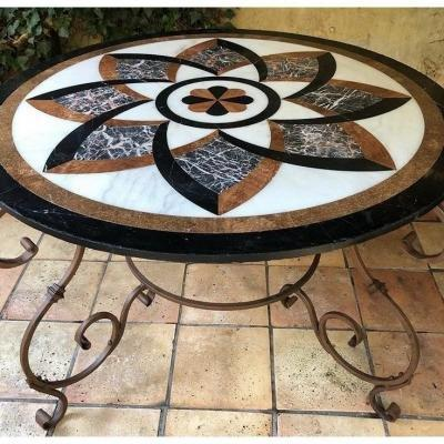 Decorative Wrought Iron Table With Inlaid Marble Top.