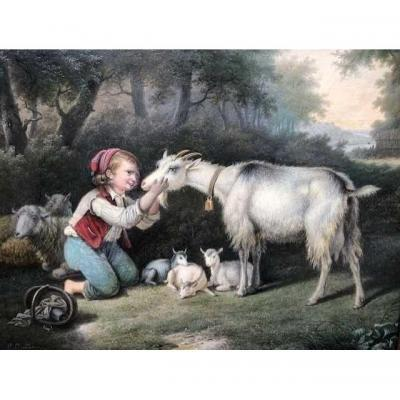 "Small Painting ""young Man With Animals"" 19thc."
