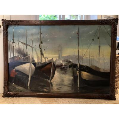 "Large Decorative Painting ""boats In The Port Of Ostend"""