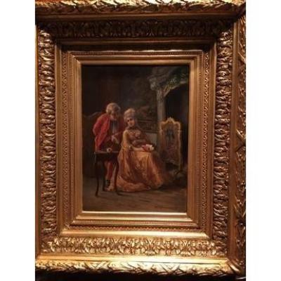 """Peinture """"romantique """"19ème Style Louis XV"""