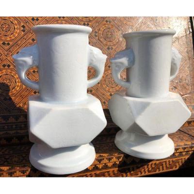 Paire De Vases Asiatiques En Porcelaine 19ème.