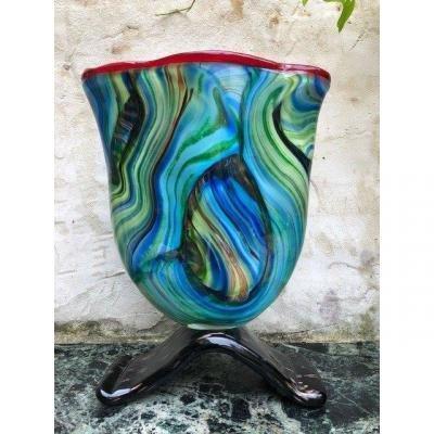 Grand Vase En Verre De Murano 20ème.