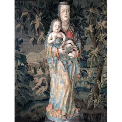 Madonna And Child Polychromed Wood Circa 1600