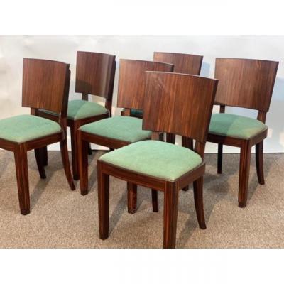 Series Of 6 Art Deco Chairs In Macassar Ebony.