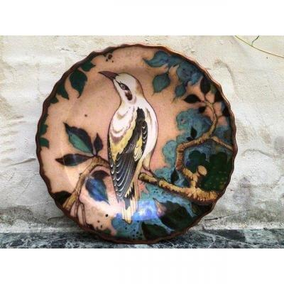 "Decorative Enamelled ""bird"" Ceramic Dish From The Early 20th Century."