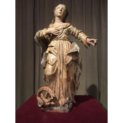 Polychromed Wood Sculpture Around 1600, Height: 58 Cm.