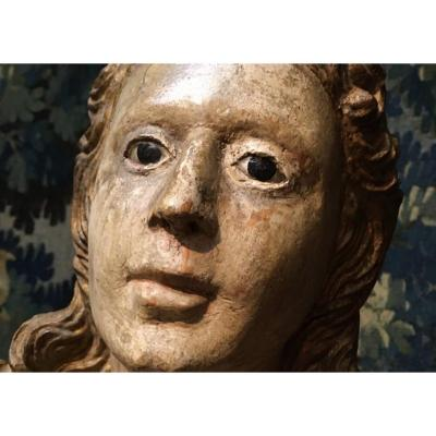 Large Polychromed Wood Sculpture From 17th Century Baroque