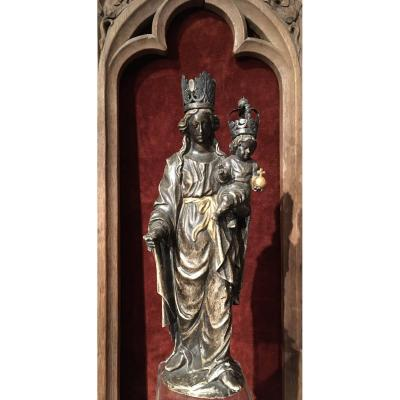 Virgin Mary With The Child In Silver Wood Around 1700