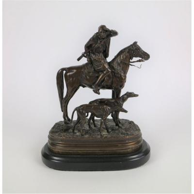 Bronze Horse Hunter Signed By Dubucand 19thc.