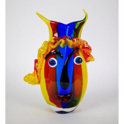 "vase en verre de Murano coloré "" Clown face "" 20ème."