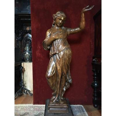 Very Large Sculpture Of The Renaissance 17th Century Height 145 Cm.