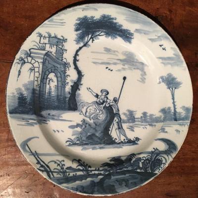 Large Earthenware Plate Around 1700 Diameter: 34.5 Cm
