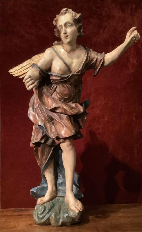 Large Baroque Angel In Polychrome Wood 17th Century-photo-4