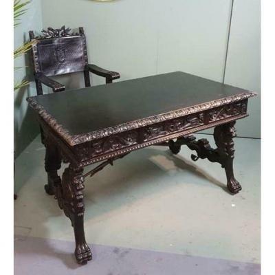 Table De Bureau + Fauteuil Style Renaissance 19ème.