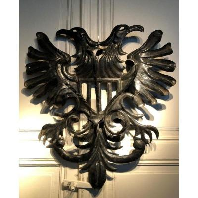 """Decorative Wall Coat Rack """"eagles"""" In Wrought Iron Early 20th Century."""
