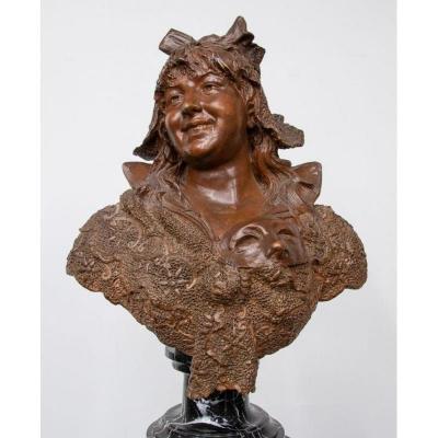 """Buste en terre cuite """" Paysanne Coquette """" sur socle en marbre 19ème."""