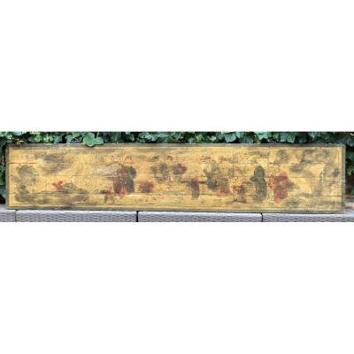 Peinture Asiatique Décorative Sur Panneau 19ème.