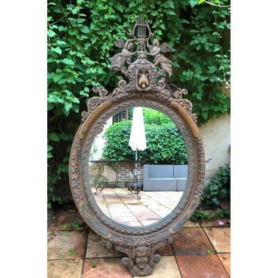 Grand Miroir Décoratif En Bois Sculpté 19ème. ( 156 Cm )
