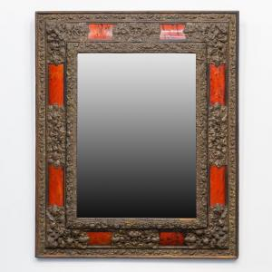 Large Mirror Decorated With Copper And Tortoise Shell 19th Century.