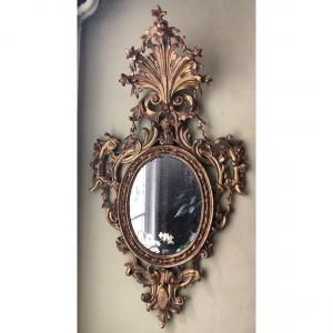 Exceptional Set Of 4 18th Century Giltwood Castle Mirrors.