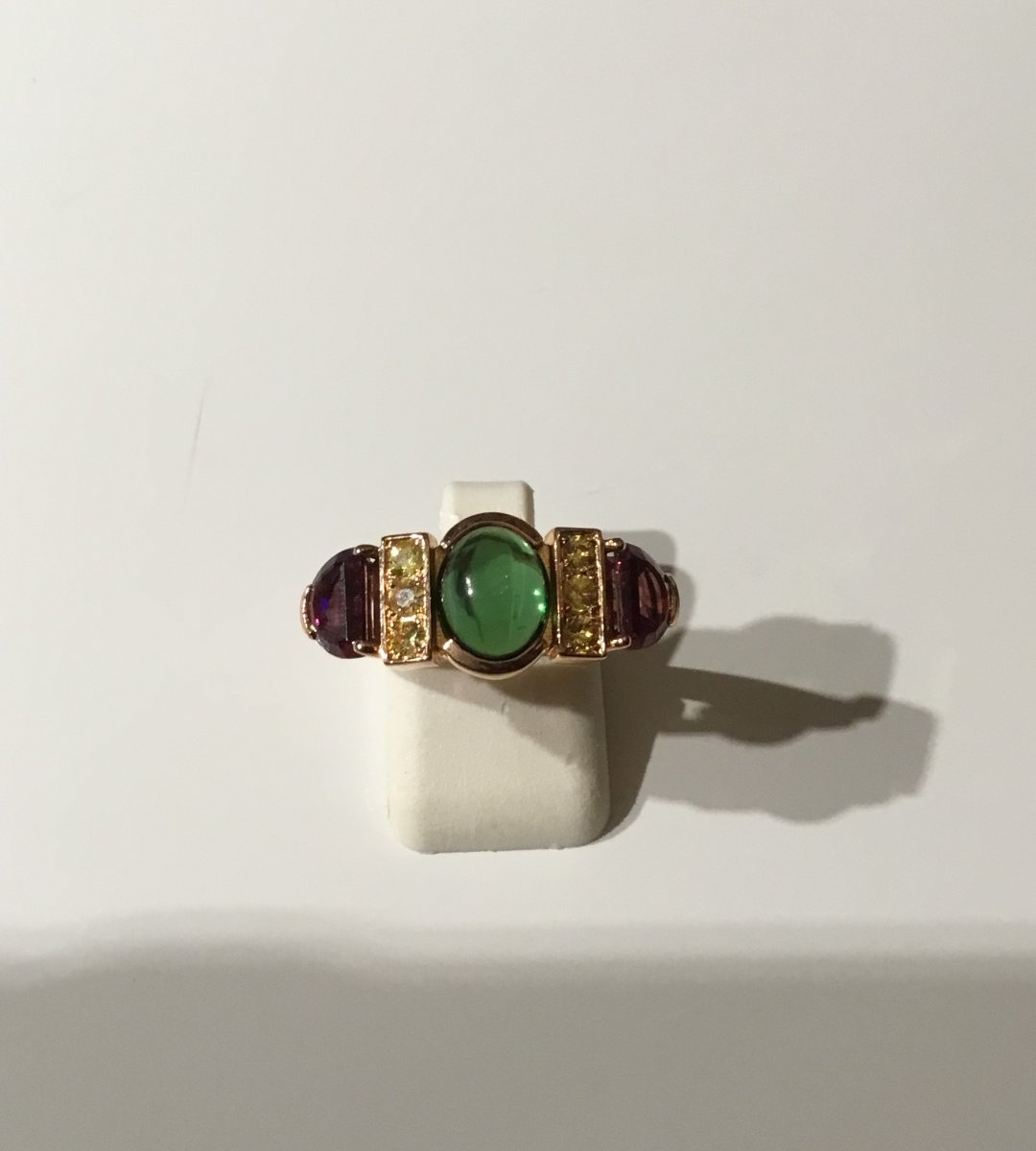 Gold Ring, Tourmaline, Yellow Sapphires And Rubellites