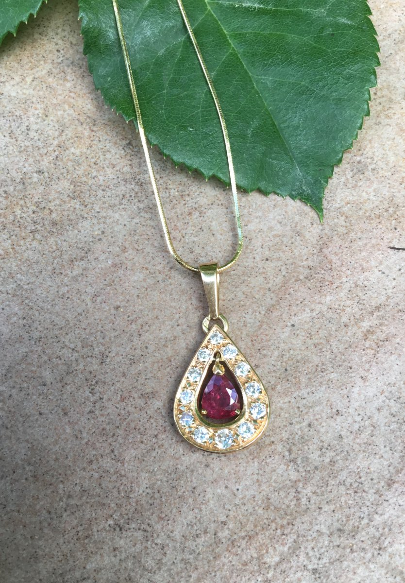 Gold, Ruby And Diamond Pendant