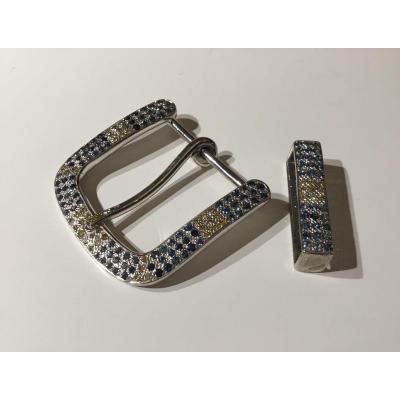 Exceptionnelle boucle de ceinture diamants et saphirs