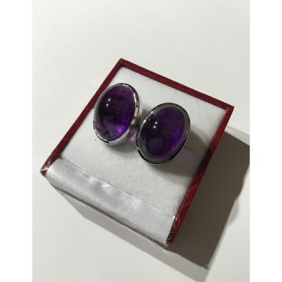 Pair Of Cufflinks, Silver And Amethysts