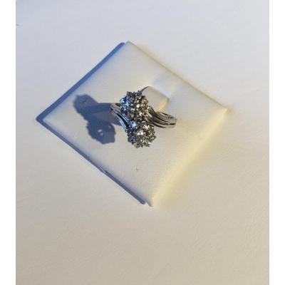"""Bague """"toi et moi"""" or gris et diamants"""