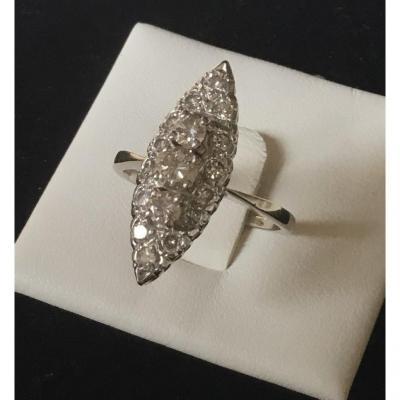 Bague marquise, or et diamants