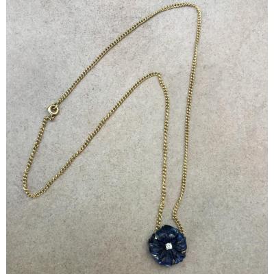 Collier or, lapis-lazuli et diamant