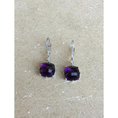 Earrings, Gold, Diamonds And Amethysts