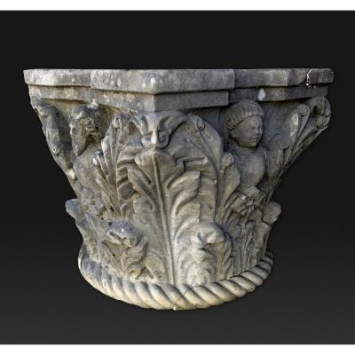 Antique Italian Marble Capital