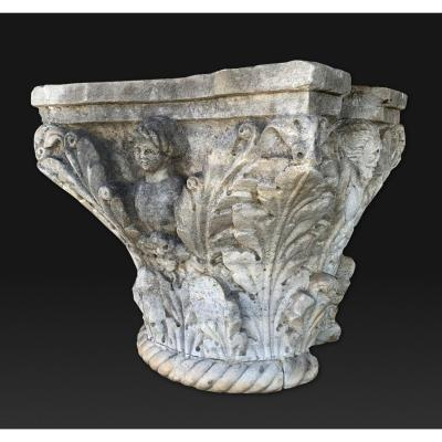 Antique Carved Marble Capital, Southern Italy