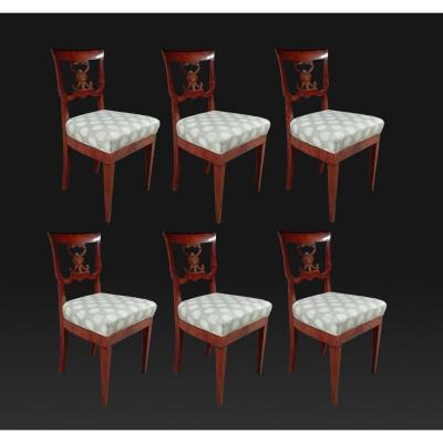 Set Of 6 19th Italian Walnut Chairs
