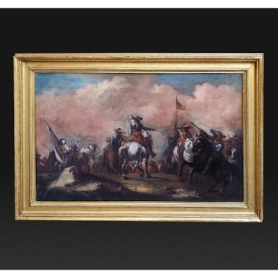 17th Italian Painting By A.m.marini Representing A Battle Scene