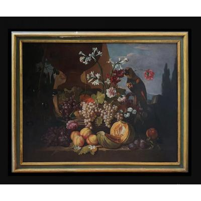 Christian Berentz, Antique 19th Painting Still Life With Parrot