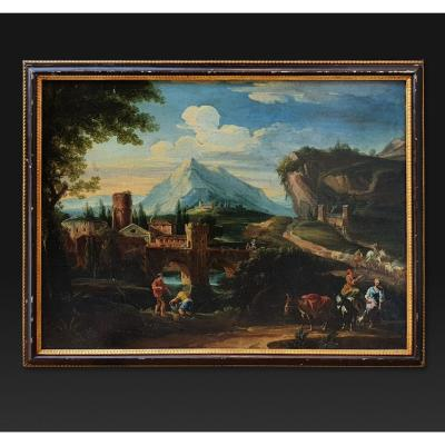 Tommaso Porta, ancien tableau paysage 18e Siècle