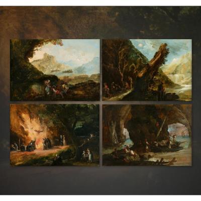Ensembe de 4 tableaux par Giuseppe Bernardino Bison
