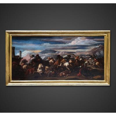 Marzio Masturzio, Tableau Scène de Bataille 17ème siècle