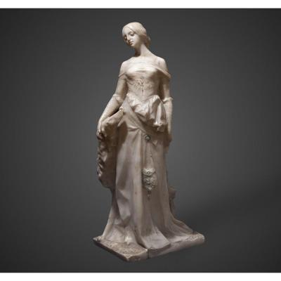 Grand sculpture en marbre blanc dame avec un lévrier