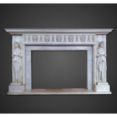 Important Neoclassical Fireplaces In White Carrara Marble